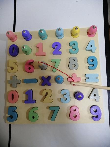 Puzzle din Lemn Cifre si Joc de Pescuit  3D - Joc lemn Puzzle Cifre 2 in 1 1