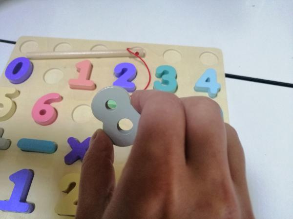 Puzzle din Lemn Cifre si Joc de Pescuit  3D - Joc lemn Puzzle Cifre 2 in 1 3