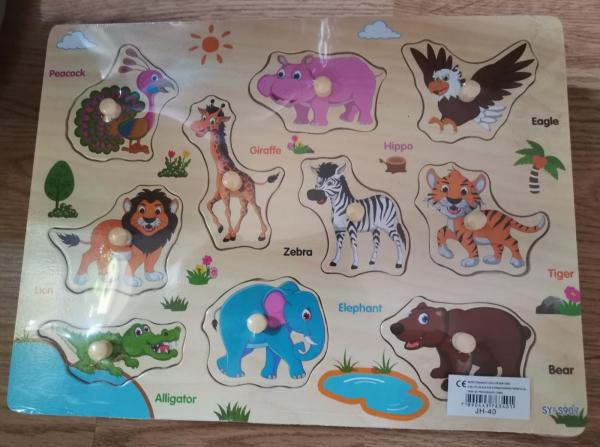 Puzzle incastru cu maner cu tematica fructe, animale ,vehicole – puzzle din lemn. [1]