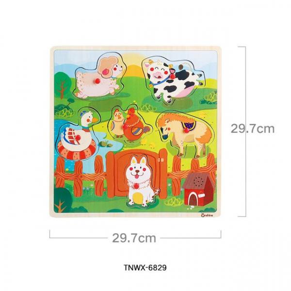 Puzzle din lemn cu sunete Animale - Vehicole - Animale jungla 1