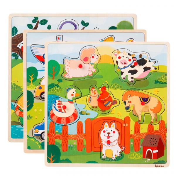 Puzzle din lemn cu sunete Animale - Vehicole - Animale jungla 2