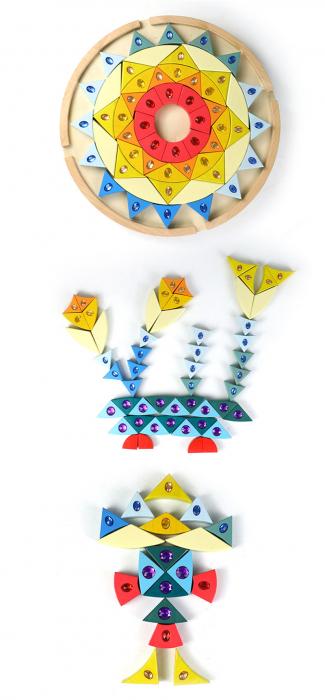 Joc lemn Puzzle montessori Mandala Soare cu pietre sclipitoare 3