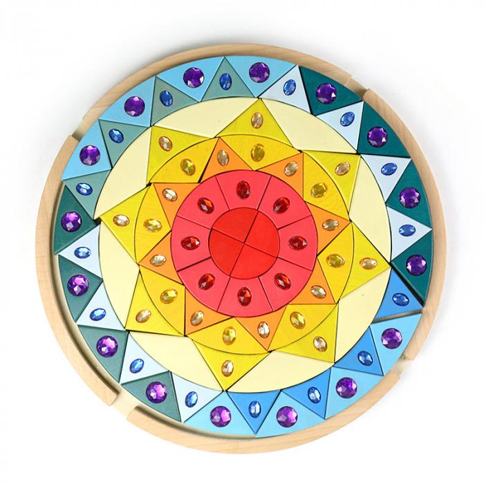 Joc lemn Puzzle montessori Mandala Soare cu pietre sclipitoare 2