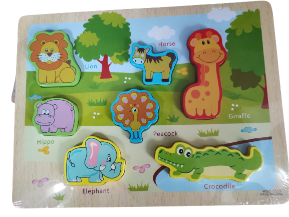Puzzle lemn 3D Animale Jungla 0