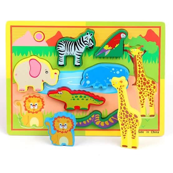 Puzzle lemn 3D Animale Jungla 1
