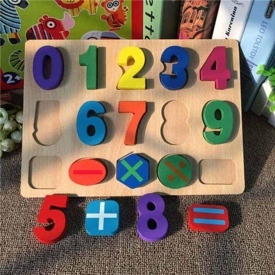 Puzzle lemn  cifre pentru copii 3D 0
