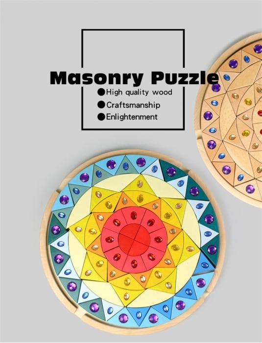 Joc lemn Puzzle montessori Mandala Soare cu pietre sclipitoare 0