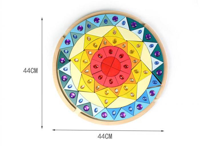 Joc lemn Puzzle montessori Mandala Soare cu pietre sclipitoare 1