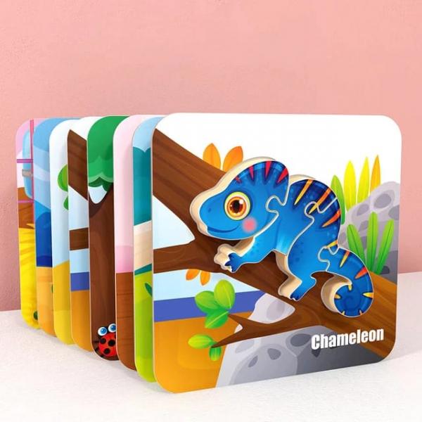 Puzzle Montessori incastru 3D - set 5 puzzle [1]