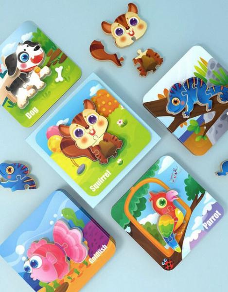 Puzzle Montessori incastru 3D - set 5 puzzle [8]