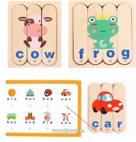 Set Puzzle betisoare creative cuvinte in engleza si imagini 3