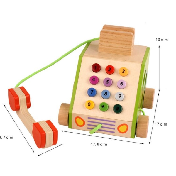 Jucarie din lemn Telefon cu forme si cifre 3