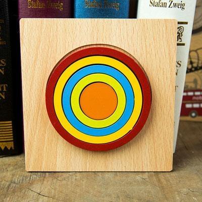 Set 2 Puzzle lemn 3D Curcubeu forme si culori 4