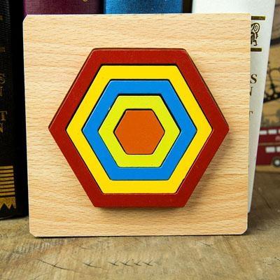 Set 2 Puzzle lemn 3D Curcubeu forme si culori 3
