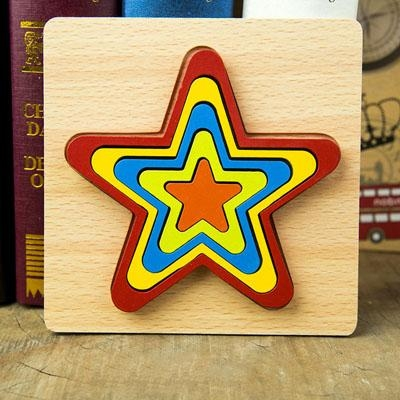 Set 2 Puzzle lemn 3D Curcubeu forme si culori 2