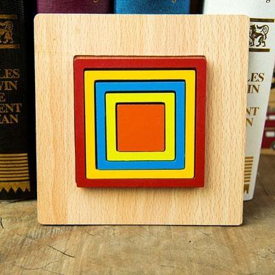 Set 2 Puzzle lemn 3D Curcubeu forme si culori 8