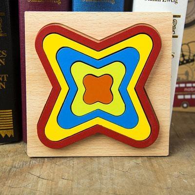Set 2 Puzzle lemn 3D Curcubeu forme si culori 7