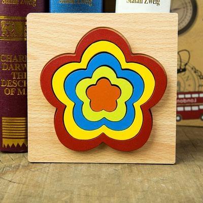 Set 2 Puzzle lemn 3D Curcubeu forme si culori 1