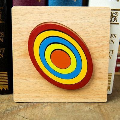 Set 2 Puzzle lemn 3D Curcubeu forme si culori 9