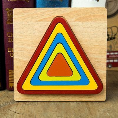 Set 2 Puzzle lemn 3D Curcubeu forme si culori 6