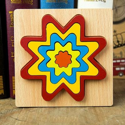 Set 2 Puzzle lemn 3D Curcubeu forme si culori 5