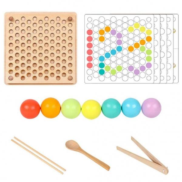 Joc din lemn montessori Sortator culori 9