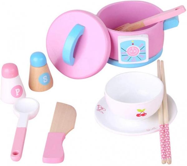 Set 14 piese din lemn pentru gatit copii - Jucării de gătit din lemn pentru copii 1