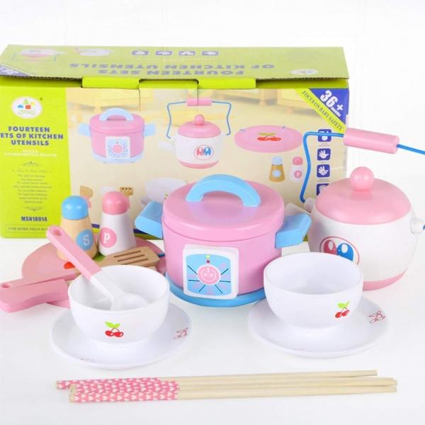 Set 14 piese din lemn pentru gatit copii - Jucării de gătit din lemn pentru copii 5