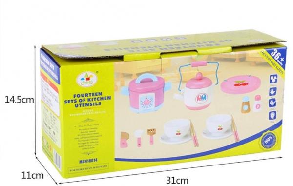 Set 14 piese din lemn pentru gatit copii - Jucării de gătit din lemn pentru copii 3