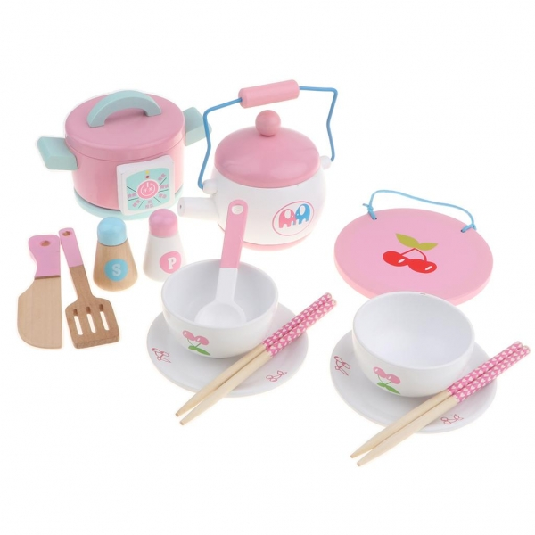 Set 14 piese din lemn pentru gatit copii - Jucării de gătit din lemn pentru copii 4