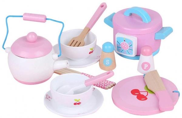 Set 14 piese din lemn pentru gatit copii - Jucării de gătit din lemn pentru copii 0