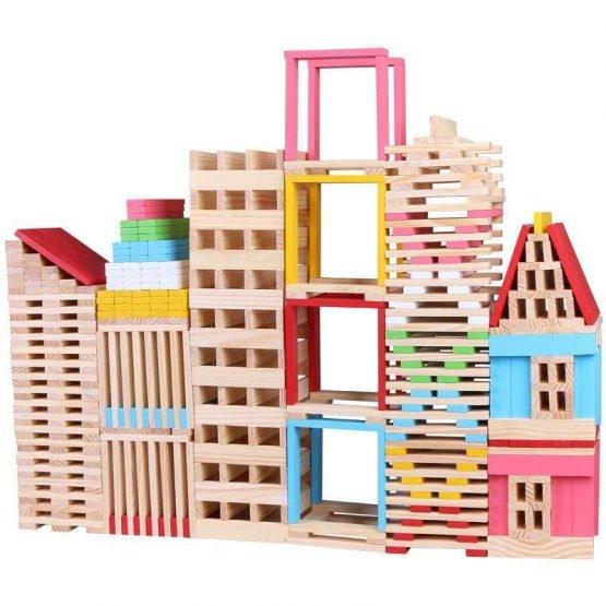 Set 150 de cuburi din lemn de constructie 0