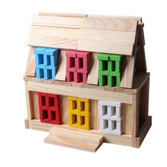 Set 150 de cuburi din lemn de constructie 4