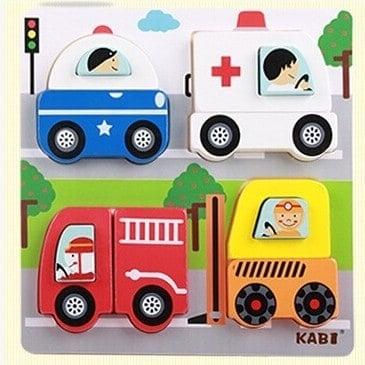 Set 4 puzzle din lemn 2 straturi Kabi 1