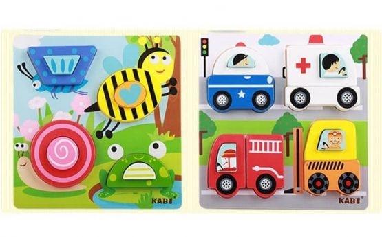 Set 4 puzzle din lemn 2 straturi Kabi 8