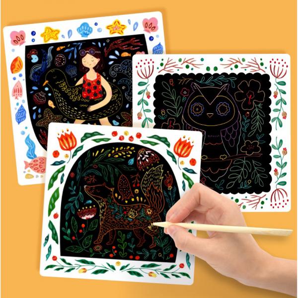 Set Creativ Planse de razuit Mideer - Scratch art card Mideer 9