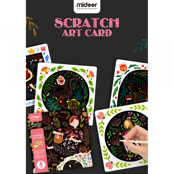 Set Creativ Planse de razuit Mideer - Scratch art card Mideer 4