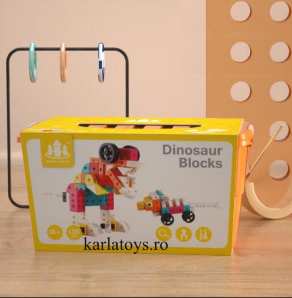 Set Joc de construit Animale Traffic Dinosaur Blocks 4