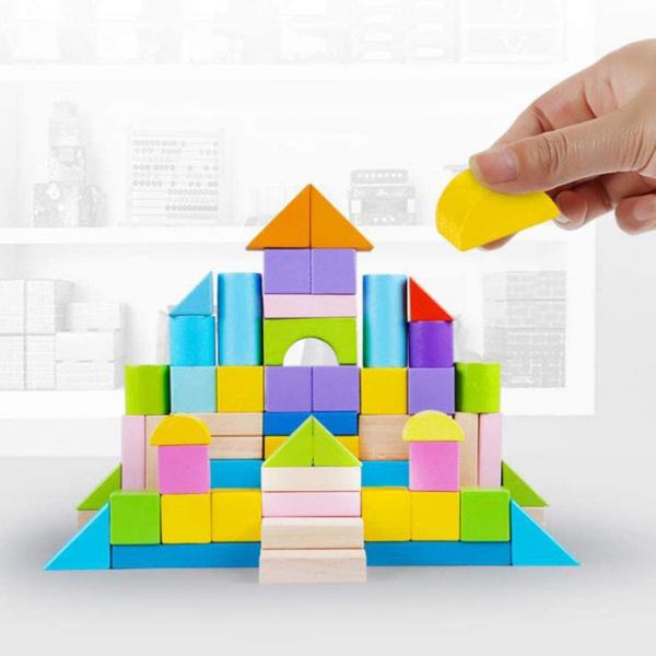 Set cuburi colorate din lemn  100 de piese 5