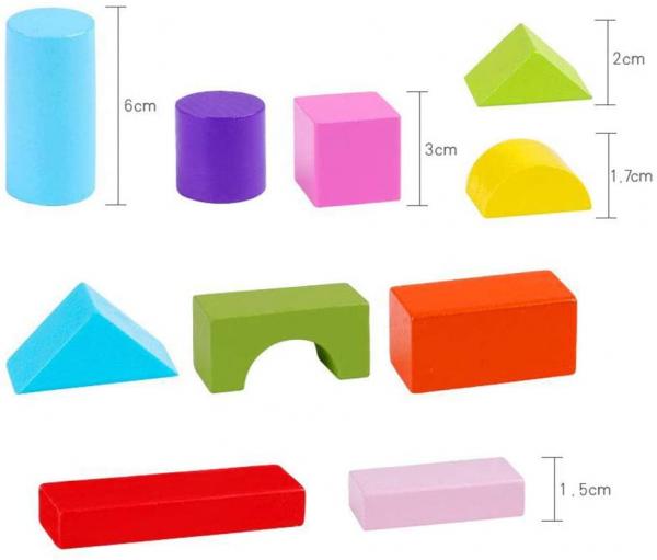Set cuburi colorate din lemn  100 de piese 7