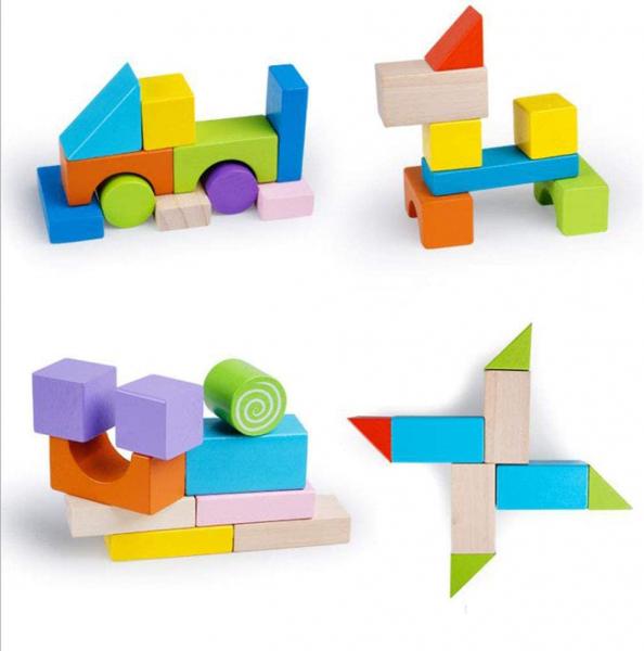 Set cuburi colorate din lemn  100 de piese 4