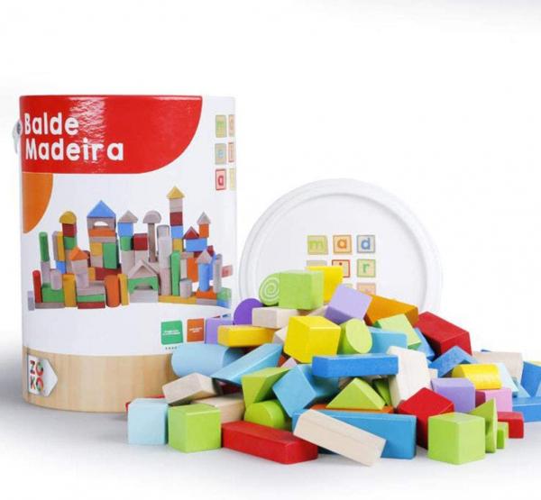 Set cuburi colorate din lemn  100 de piese 0