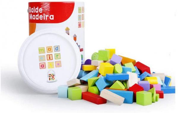 Set cuburi colorate din lemn  100 de piese 6