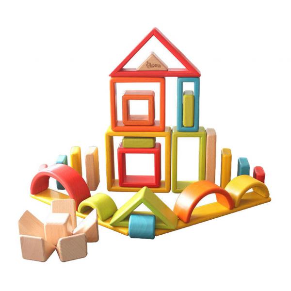 Cuburi din lemn stivuire Curcubeu - Set cuburi montessori Rainbow 6