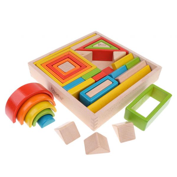 Cuburi din lemn stivuire Curcubeu - Set cuburi montessori Rainbow 1