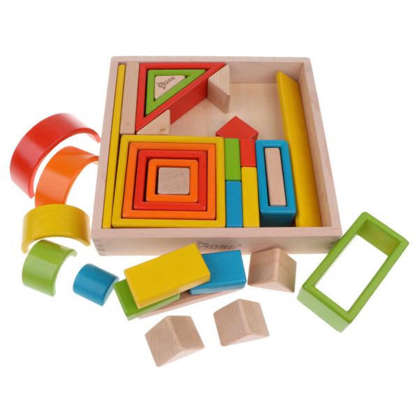 Cuburi din lemn stivuire Curcubeu - Set cuburi montessori Rainbow 0