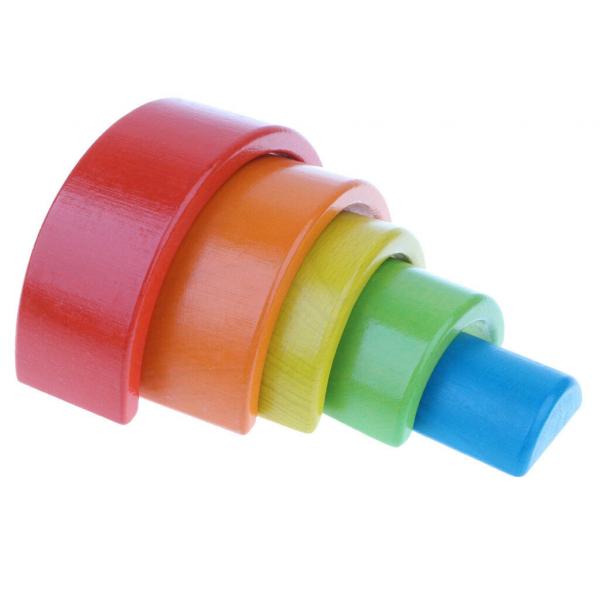 Cuburi din lemn stivuire Curcubeu - Set cuburi montessori Rainbow 2