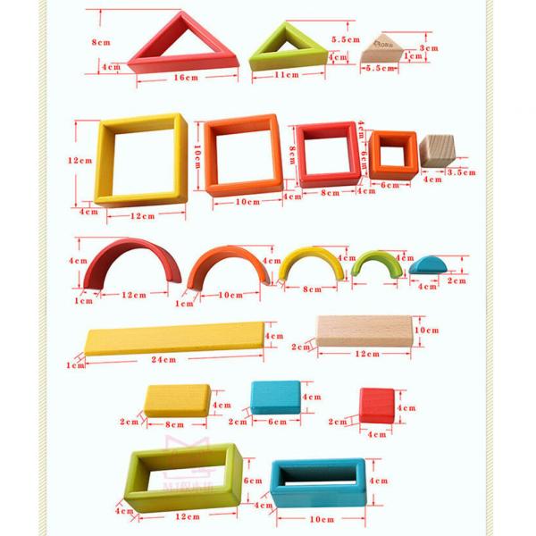Cuburi din lemn stivuire Curcubeu - Set cuburi montessori Rainbow 3