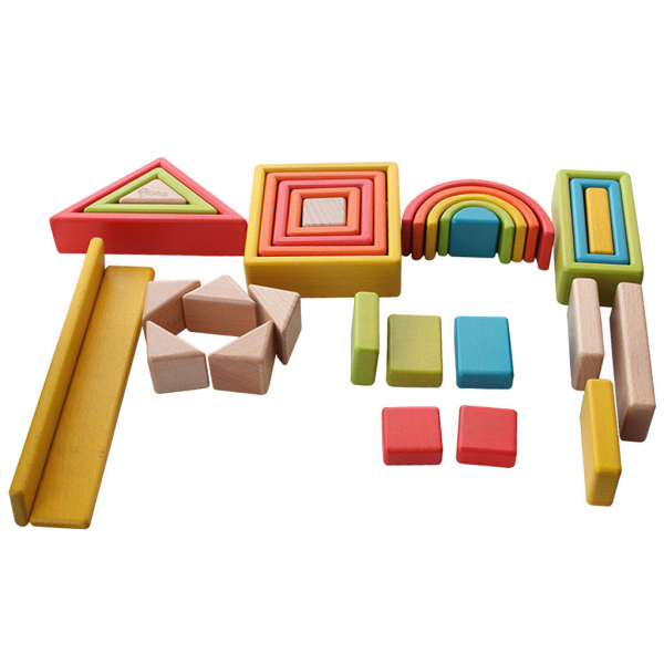 Cuburi din lemn stivuire Curcubeu - Set cuburi montessori Rainbow 4