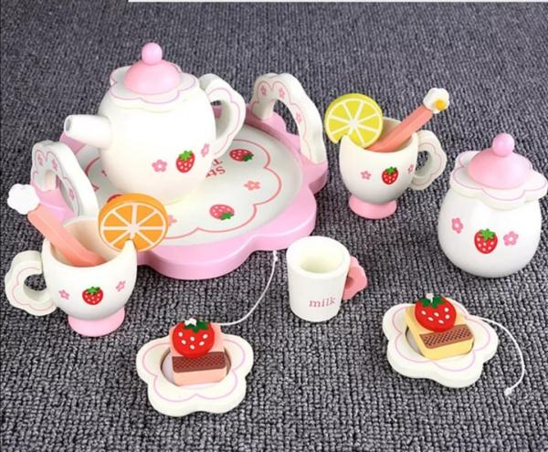 Set din lemn Servit Ceaiul - Set de Ceai  copii cu accesorii [6]